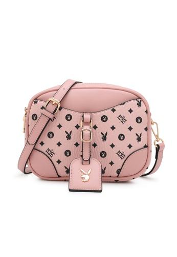 PLAYBOY BUNNY pink LADIES MONOGRAM SLING BAG AE507ACFF425F3GS_1