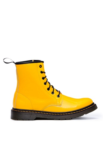 Life8 yellow Casual Leather Military Style High Bright Boots-09854-Yellow 00593SH8E166E9GS_1