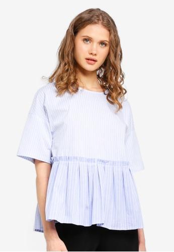 ESPRIT blue Stripe Short Sleeve Blouse BF93AAA9054C66GS_1
