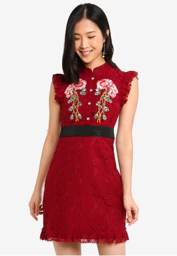 Megane red Red Romance Felicia Embroidery Lace Cheongsam 2B30BAA4C40D8BGS_1