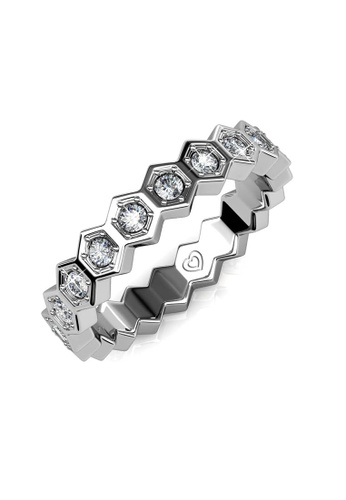 Her Jewellery silver Irene Ring (White Gold) - Made with premium grade crystals from Austria 88B20AC40F2B78GS_1