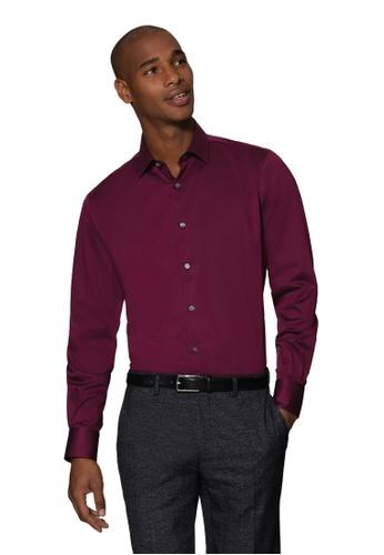 T.M. LEWIN red T.M.Lewin Stretch Cotton Slim Fit Burgundy Single Cuff Shirt E8F53AA1D972D5GS_1