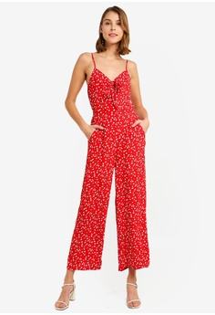 031e3cda15 Miss Selfridge red Petite Red Tie Jumpsuit 43BFEAA9B29F76GS 1