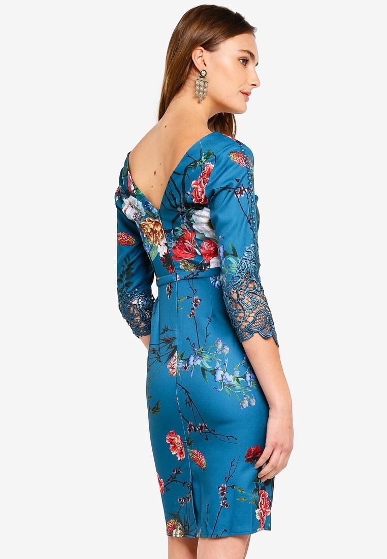 Aqua Dress Print Little Floral Floral Mistress Vintage 7zXwq4