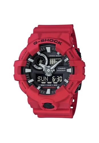 G-SHOCK red Casio G-Shock Men's Analog-Digital GA-700-4A Red Resin Band Sports Watch 24ECBAC8B67919GS_1