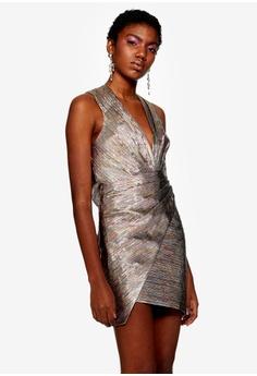 db6b27580dd TOPSHOP multi Rainbow Metallic Wrap Dress 322D1AAFD68FF1GS 1