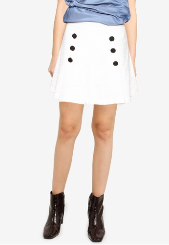 Saturday Club white Tweed Pleated Skirt With Button Front D40CFAA85D9495GS_1