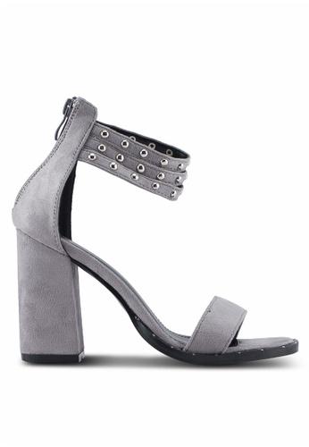 Something Borrowed grey Triple Strap Studded Heels 5CC4ASH2E13F3DGS_1
