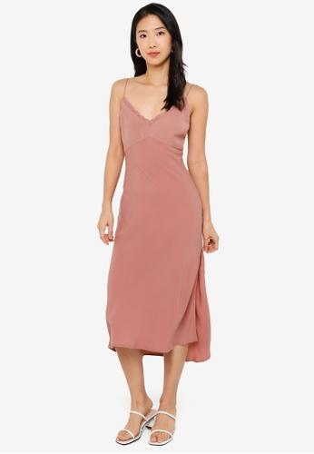 Abercrombie & Fitch pink Faux Silk Slip Midi Dress 66426AAEBD62F3GS_1