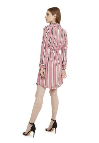 Evernoon pink Mini Dress Chic With Belt Lengan Panjang Garis Dual Tone Color Baju Wanita - Pink 0638DAA3D5A413GS_1