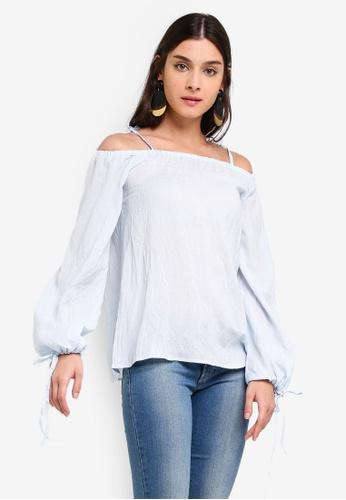 ZALORA blue Off Shoulder Puffed Sleeves Top 77675AA67BA772GS_1