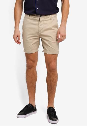 Topman beige Owen Chino Shorts TO413AA0SLXMMY_1