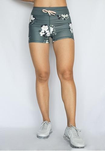 e126e3ce17 Banana Fighter green Nara Shorts Floral Printed High Waisted Yoga Shorts  With Drawstring 72387AAC43DEE3GS_1
