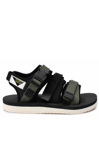 TOUCH GROUND black Three Strap Triangle KHAKI BLACK Sandals TO294SH0GTUPSG_1