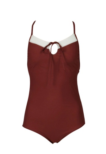 ZITIQUE red Women's Vintage Style Backless Non-wired Swimsuit - Wine Red 8A61BUS881850BGS_1