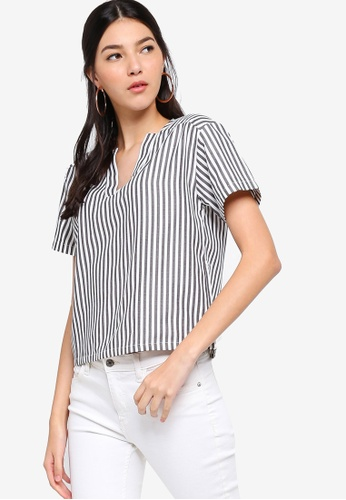 ZALORA black and white Overlap Neck Blouse 140CAAA8EAEC03GS_1