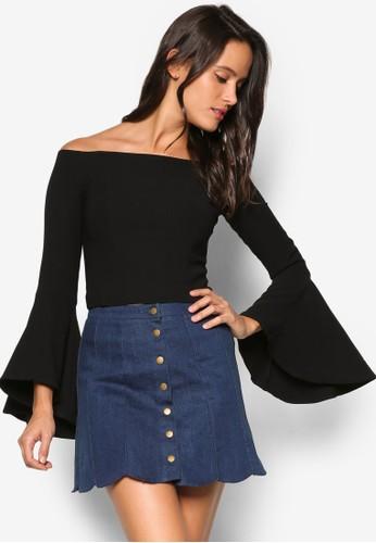 Solange 露zalora時尚購物網評價肩喇叭袖上衣, 服飾, 上衣