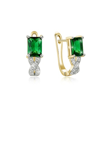 Glamorousky white Elegant Plated Gold Geometric Earrings with Green Cubic Zircon D0878ACA46942EGS_1
