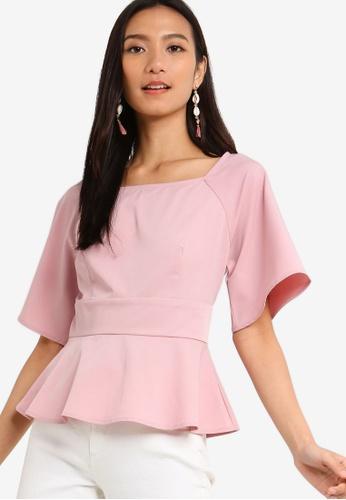 ZALORA 粉紅色 方領荷葉飾上衣 56E7BAAB9ADE72GS_1