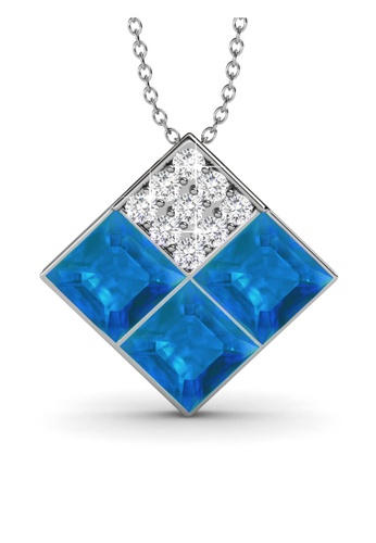 Her Jewellery blue and silver Swarovski® Crystals - Square Pendant (18K White Gold Plated) Her Jewellery HE581AC0RAF1MY_1
