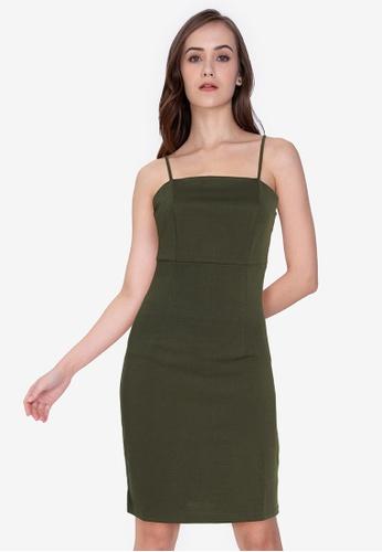 ZALORA WORK green Square Neck Cami Bodycon Dress 11B97AA7181D63GS_1