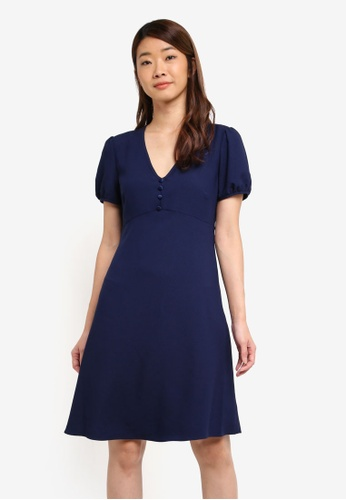 Dorothy Perkins navy Navy Button Fit & Flare Dress D10FFAAD5968F2GS_1