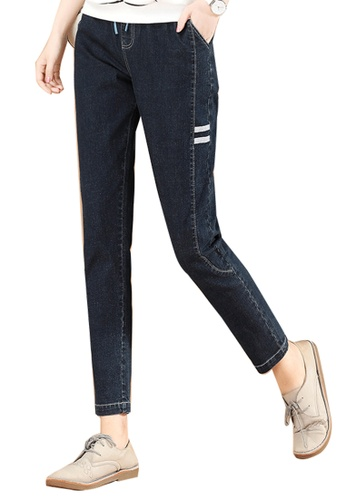 A-IN GIRLS navy Elastic Waist Panel Jeans CB263AA7494EC0GS_1