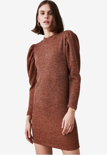 Trendyol brown Knit Puff Sleeve Dress F013AAA02DA942GS_1