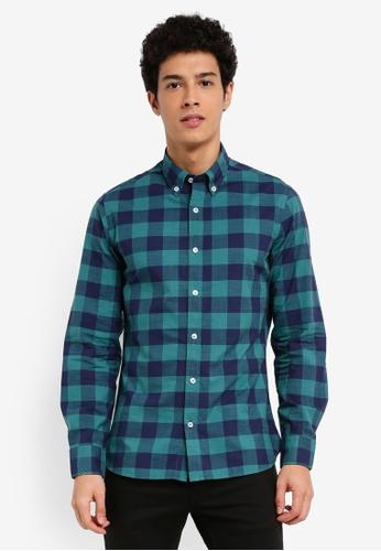 MANGO Man green Slim-Fit Checked Cotton Shirt C1111AAD45EECBGS_1