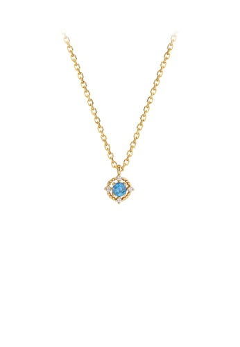 Glamorousky blue 925 Sterling Silver Plated Gold Fashion Simple Geometric Round Blue Cubic Zirconia Pendant with Necklace 7AD17AC4CFF5B7GS_1