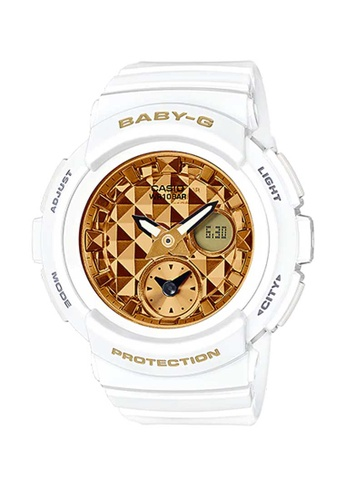 CASIO white Casio Baby-G Gold and White Resin Watch 3826CAC439438AGS_1