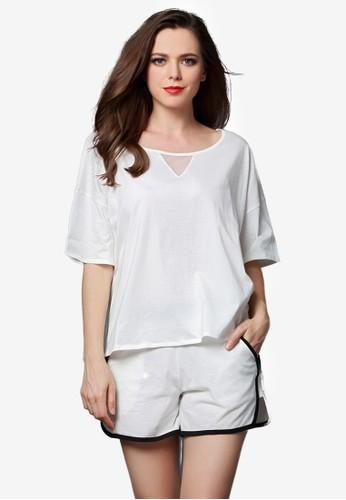 寬擺短袖短褲睡衣套裝, esprit台灣服飾, 睡衣套裝
