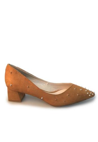 Sunnydaysweety 褐色 限量秒殺品 - 2017 型格新款尖窩釘絨面高跟鞋C03013BW SU395SH08ZQRTW_1