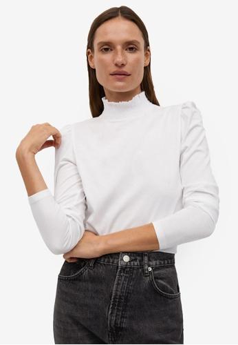 Mango white Turtleneck Organic Cotton T-Shirt 19470AABFD1983GS_1