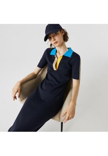 Lacoste Women's Polo Collar Two-Tone Cotton Knit Long Sweater Dress 7640BAAA9705B0GS_1