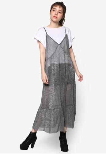 韓系時尚珍珠細肩帶esprit outlet尖沙咀連身裙, 服飾, 洋裝