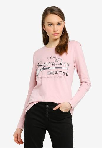SUPERDRY pink Vintage Logo Photo Rose Long Sleeve Top D948CAA26E8EF5GS_1