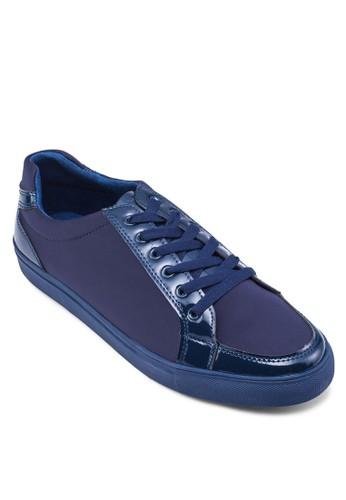 漆皮拼接繫帶運動鞋, 鞋,zalora開箱 休閒鞋