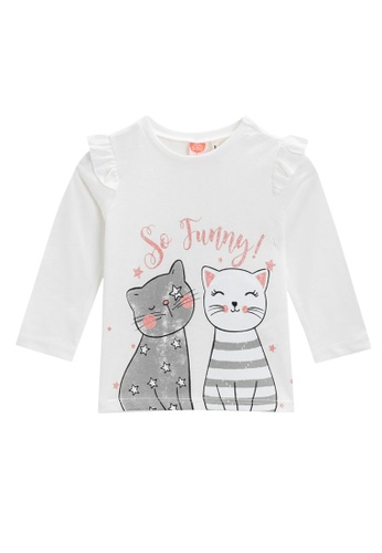 KOTON white Cat Print T-Shirt 4569FKAA329BDBGS_1