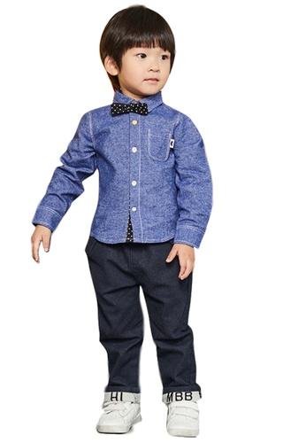 M.Latin blue Long Sleeve Button Denim Shirt with Bowtie E9554KA5491E45GS_1