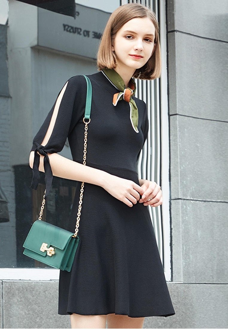 Sunnydaysweety F Dress Mini Mid Black W Black 2017 Sleeves Flare UA092010 g6wzwd