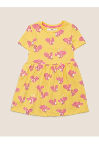 MARKS & SPENCER yellow M&S Pure Cotton Squirrel Print Dress (2-7 Yrs) 5453CKA6710DBBGS_1