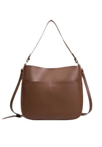 Lara brown Women's Soft PU Leather Shoulder Bag - Dark Brown 88357ACC2862B3GS_1