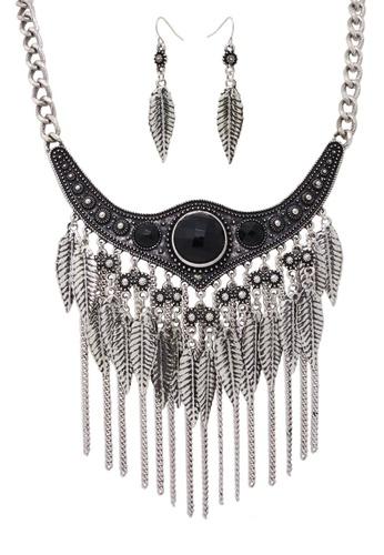 Jaysa Collection silver Bohemian Gypsy Style Leaf Necklace Set JA875AC0F48CSG_1