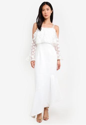 bYSI white Flower Crochet Asymmetric Dress BY867AA0SCSYMY_1