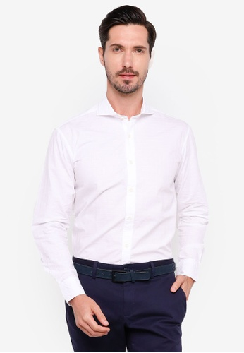 Sacoor Brothers white Slim fit 100% cotton jaquard shirt 89CDCAA1CB4C51GS_1