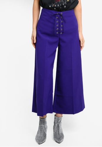 TOPSHOP purple Lace Up Crop Wide Trousers TO412AA0SZ72MY_1