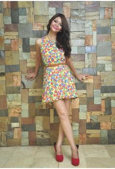 MnM Printed Yellow Base Dress with Full Circle Skirt