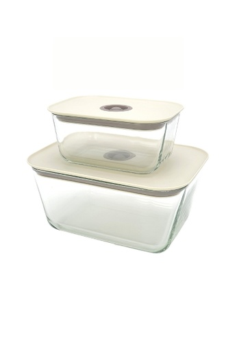 Neoflam beige NEOFLAM Clik Borosilicate Glass Heat Resistance Airtight Food Storage (Set 2 - 800ml+2680ml) E83B1HL51ED461GS_1