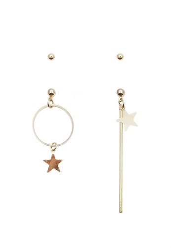 LUCCACAL gold Dainty Star Mismatch Earrings CE18EACA909B65GS_1